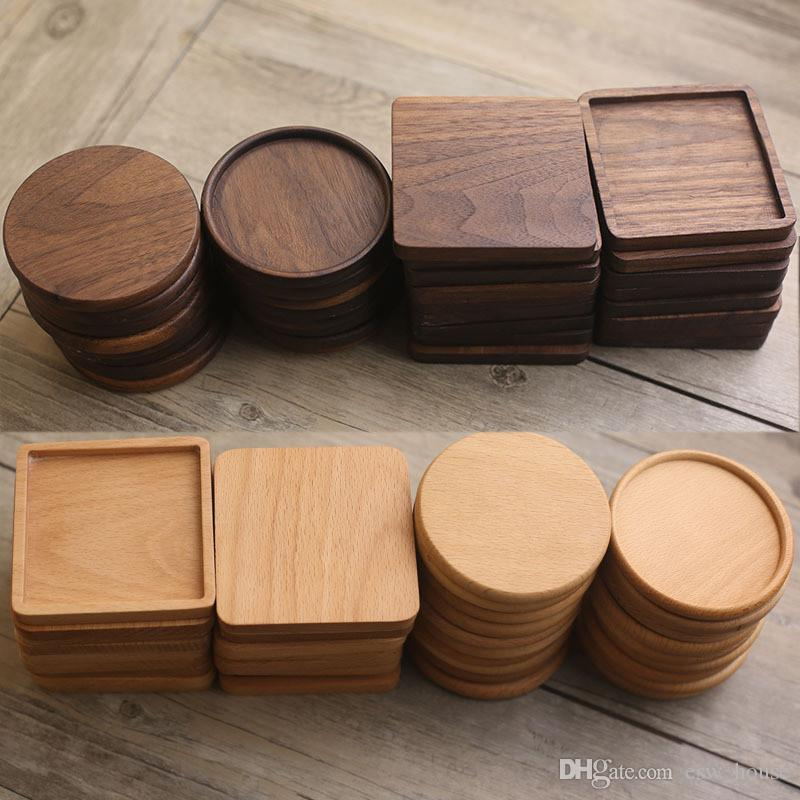 Wooden Coasters Black Walnut Coffee Tea Cup Mats Wooden Cup Mat Bowl Pad Teapot Drink Coasters Home Bar Tools