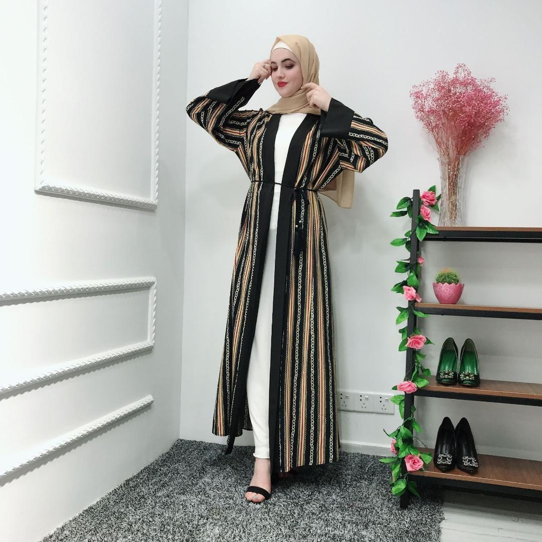 Kimono Muslim UAE Abaya Striped Chains Hijab Dress Cardigan Robe Dubai Kaftan Ramadan Eid Arab Jubah Turkish Islamic Clothing