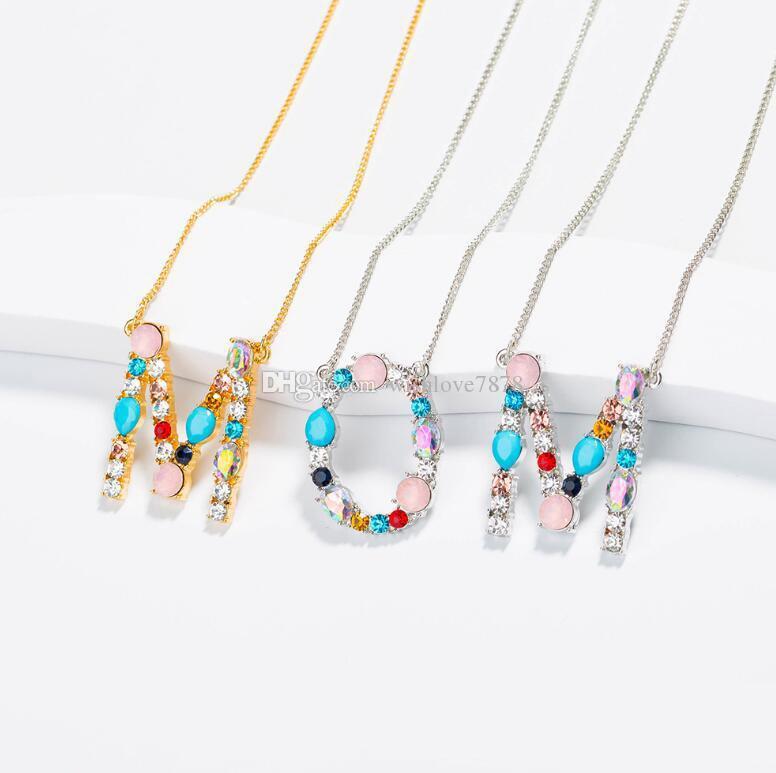 2019 Yeni Varış Moda 26 Inital Mektup Adı Kolye Kolye Kadınlar Için Renkli Kristal A-Z Ile Alfabe Kolye Takı