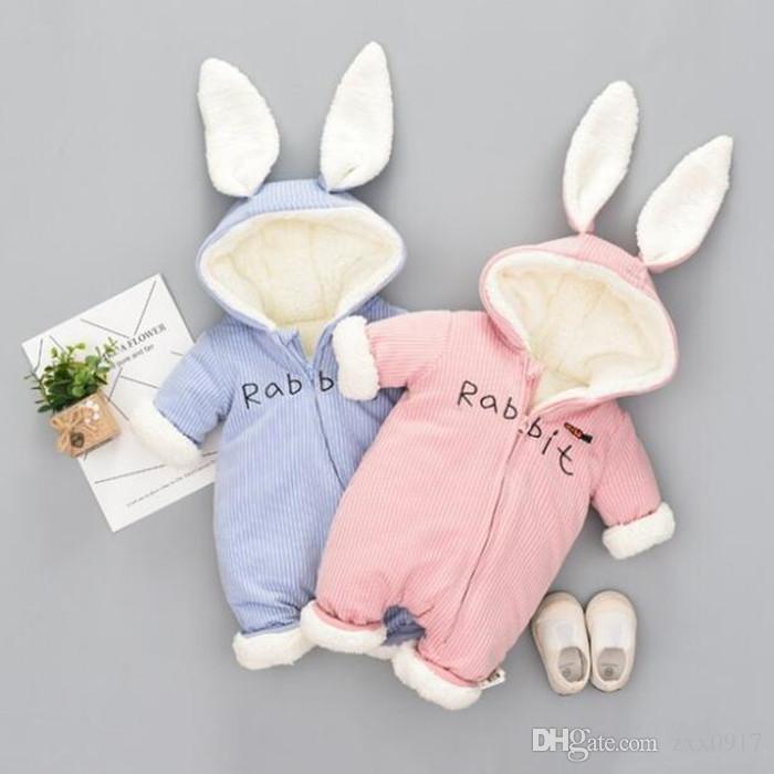 Cute Bunny Fleece Samt Infant Kleidung Winter-Baby-Jungen-Spielanzug Warm New Born Baby Neugeborene Kleidung Schnee-Overall