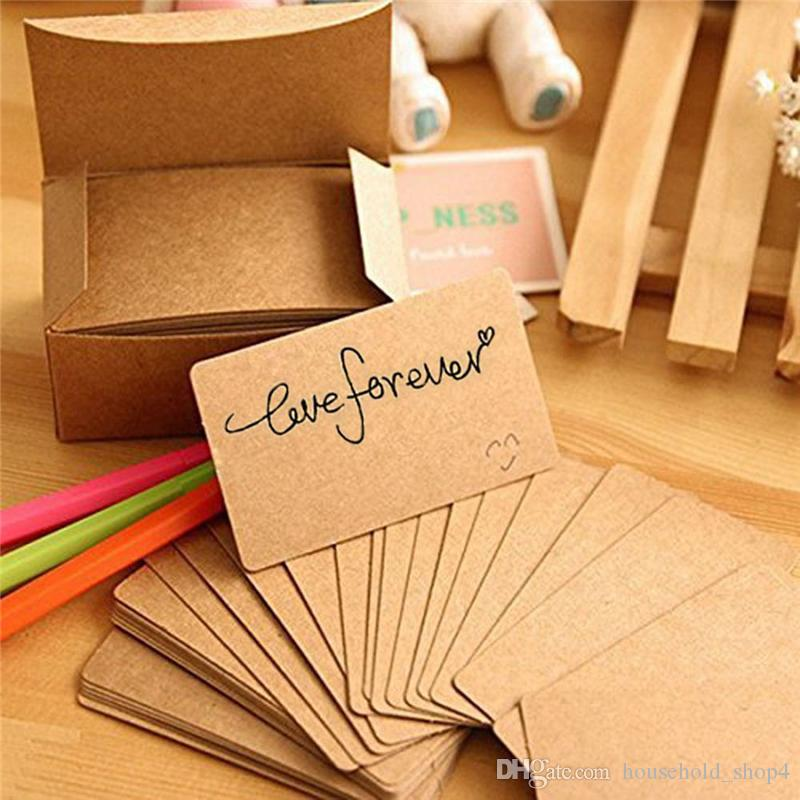 100Pcs Kraft Paper Card Blank Business Cards Message Memo Party Thank You Label