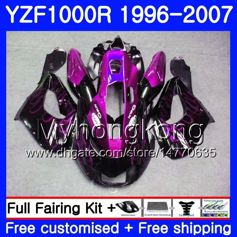 Corpo per YAMAHA YZF1000R Thunderace 02 03 04 05 06 07 Fiamme viola 238HM.36 YZF 1000R YZF-1000R 2002 2003 2004 2005 2006 2007 Kit carenatura