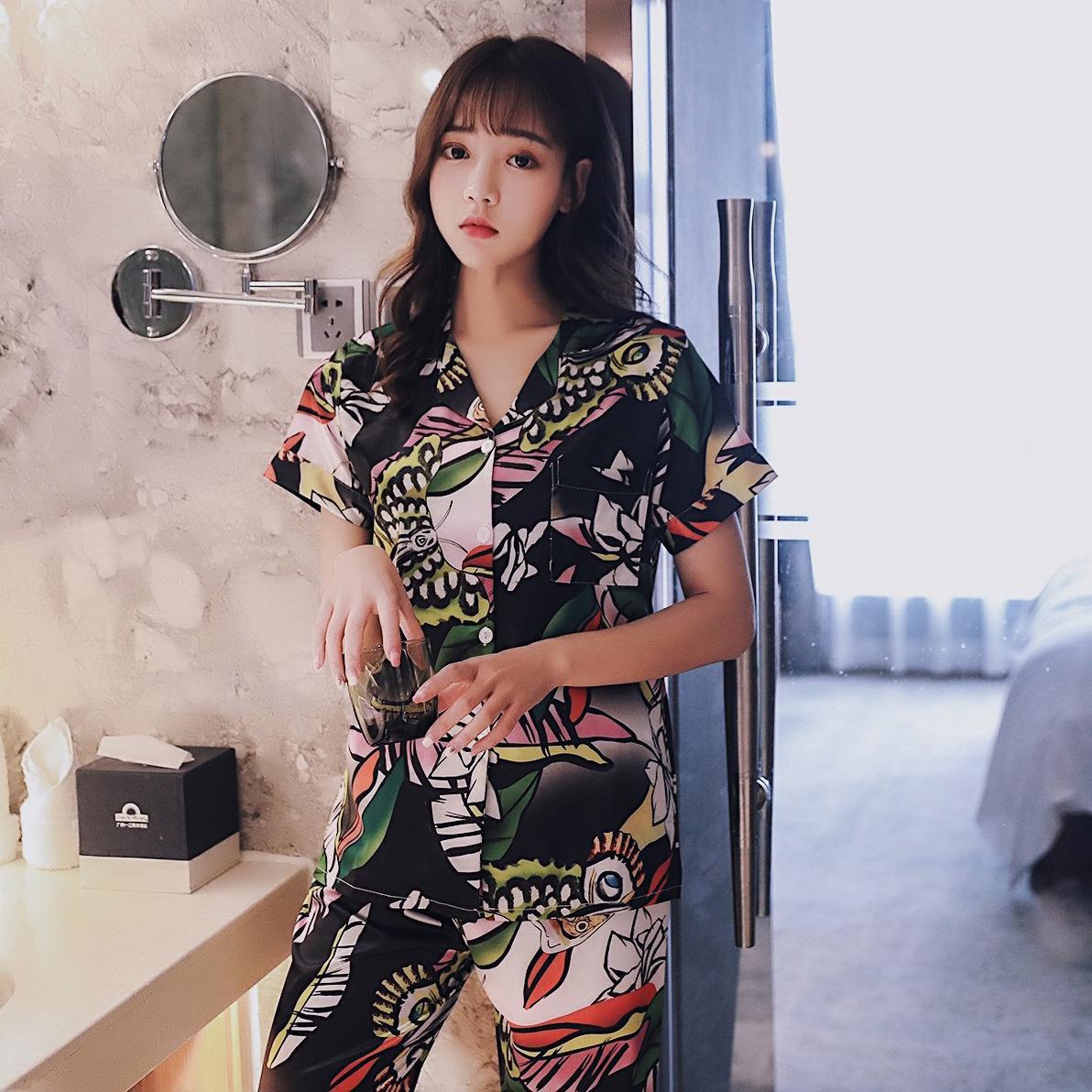 Impressão de Verão pijamas de manga curta Tops com calças compridas Mulheres Início Terno Confortável macio manga curta Calças Mulheres Pijama T200429