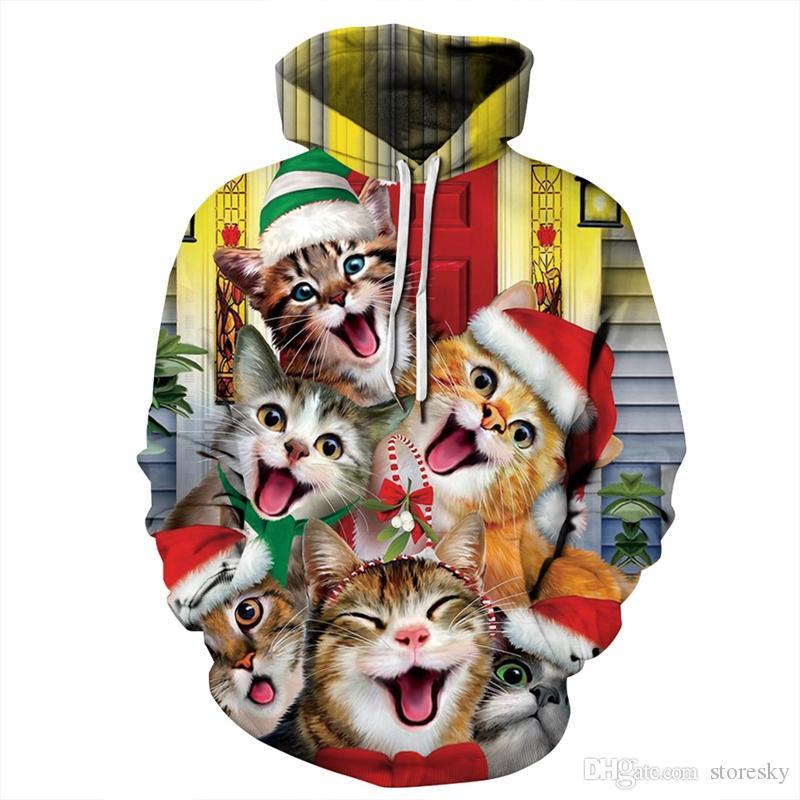 2019 Hoodie Cat Snowman Festival de Natal Hoodies Homens Mulheres manga comprida All Over Printed Pullover com capuz Outwear 3D camisola Plus Size