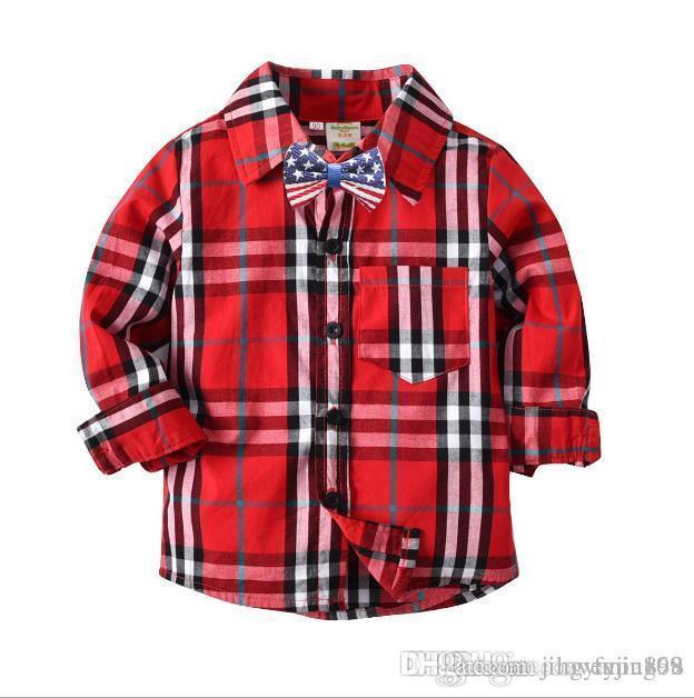 Hübscher Blick Jungen-rotes kariertes Hemd-Kontrast-Farbschwarzes überprüft Hemden-Mischung unterschiedliche Größe 10pcs / lot