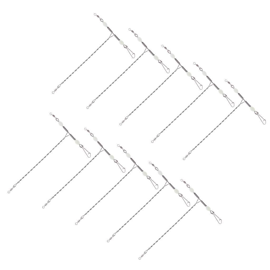 10pcs en forma de T, placas giratorias broches de presión de acero inoxidable de 3 vías del balanceo de la Cruz Equilibrio giratorio eslabones giratorios línea de pesca con perlas luminosas