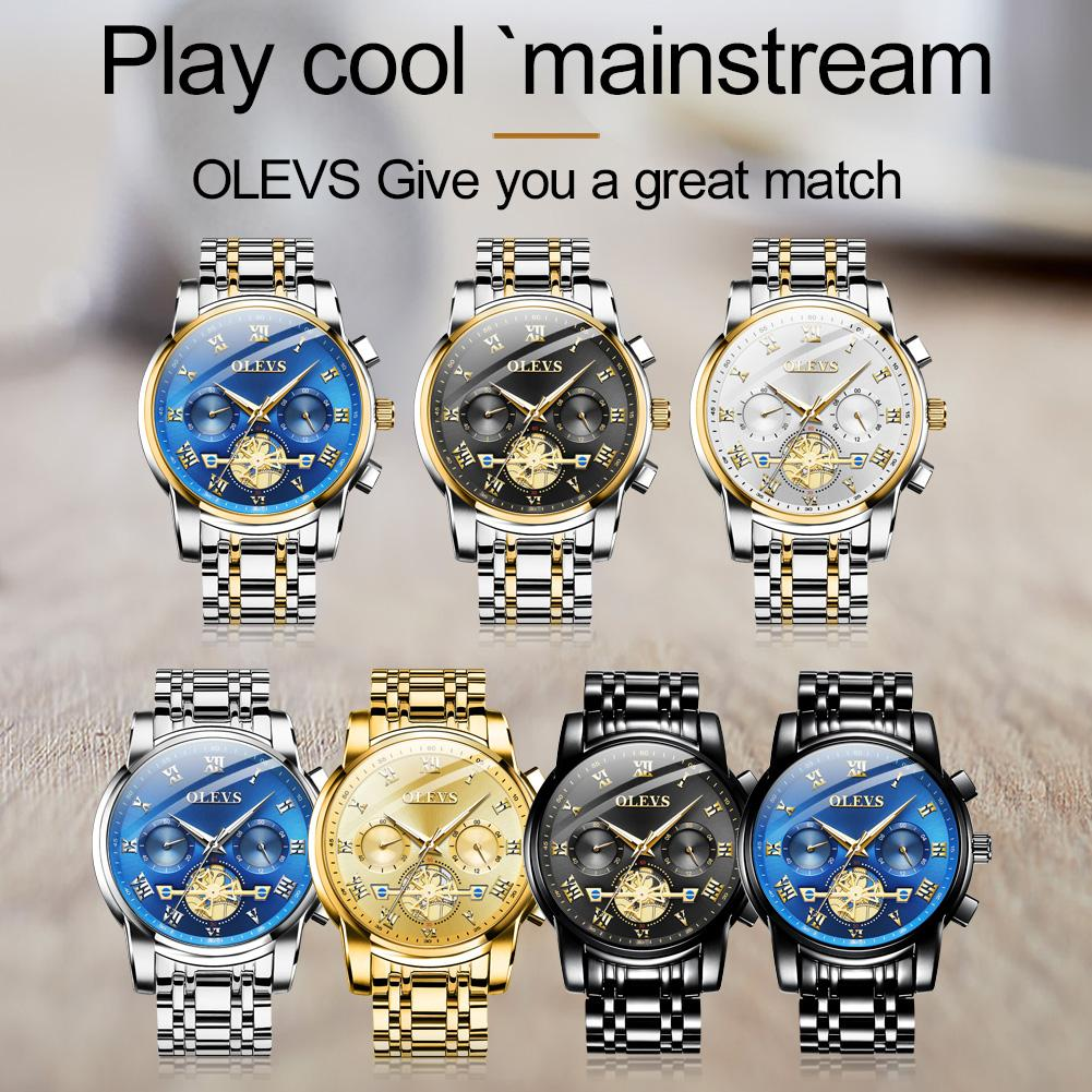 OLEVS Luxury Men's Hollow Multi Dial Quartz Watches HD Luminous Waterproof Chronograph Sport Business Watch Wristwatches Gift for Dad