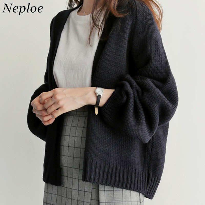 Neploe Sweater Cardigan Women 's 2019 New Korean Loose Sweater Women Coat Solid Knitting Outwear Women Casual Open Stitch 36530 Y190829