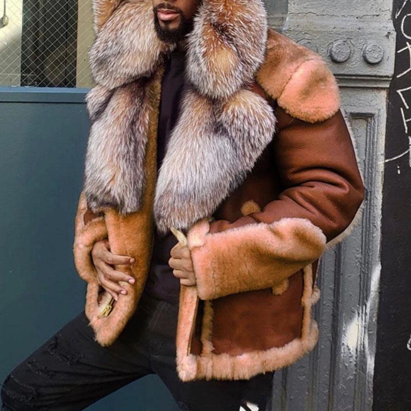 رجل عارضة سميكة المعطف مقنع فو جلدية مكتب العمل في الهواء الطلق كم طويل معاطف وجاكيتات شتاء دافئ زائد الحجم