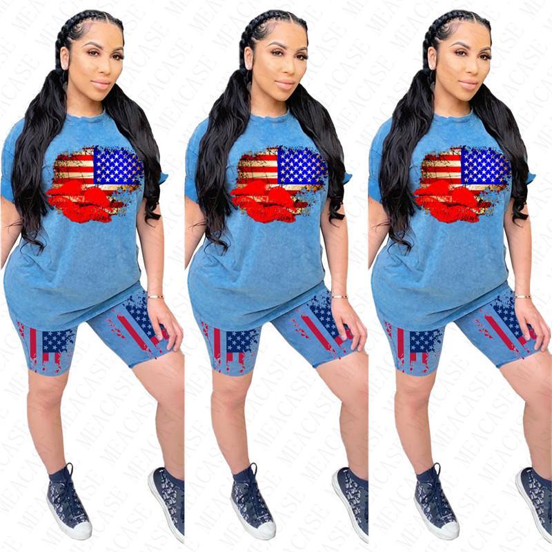 Роскошные женщины спортивный костюм женщина рот губы 2 шт комплект одежды с коротким рукавом тройники топ футболка шорты две части наряд флаг спортивная одежда D62304
