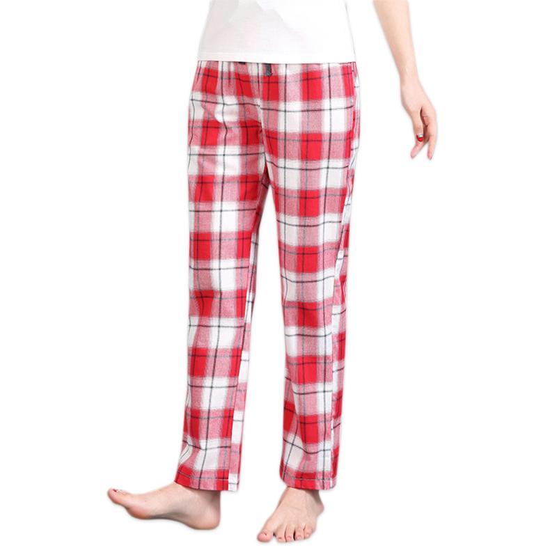 Sommer-reizvolle rot karierte 100% Baumwolle Frauen Lounge Hose plus Größe Schlaf Böden Frauen Female Pyjamas Nachtwäsche Hosen