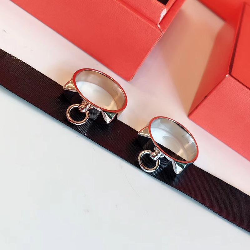 Marchio caldo puro 925 gioielli in argento sterling per le donne Anelli di blocco serratura Design H Anelli d'argento Anelli di lusso del partito dei monili J190715