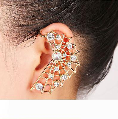Mode-Spinnen-Netz-Ohrringe Frauen Strass Crystal Golden-Silber überzogene Ohr-Stulpe-Klipp auf Ohrring-Ohr-Stulpe-Ohrringe für das linke Ohr Schmuck