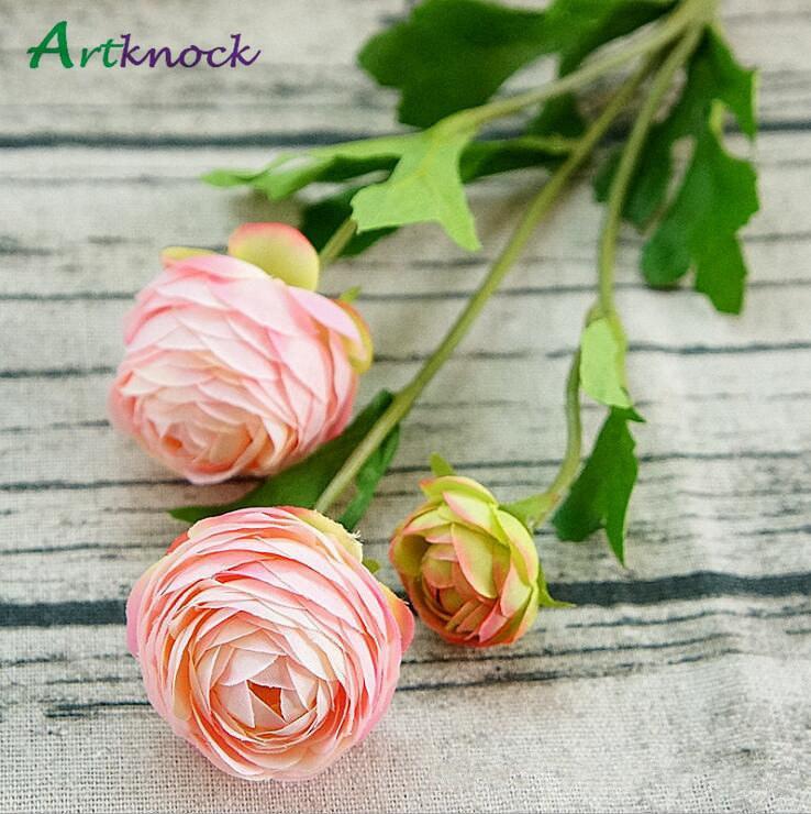 3 têtes Artificielle Ranunculus Asiaticus Rose Fausses Fleurs De Soie Flores Artificiales Pour La Décoration De Mariage Automne Kunstbloemen