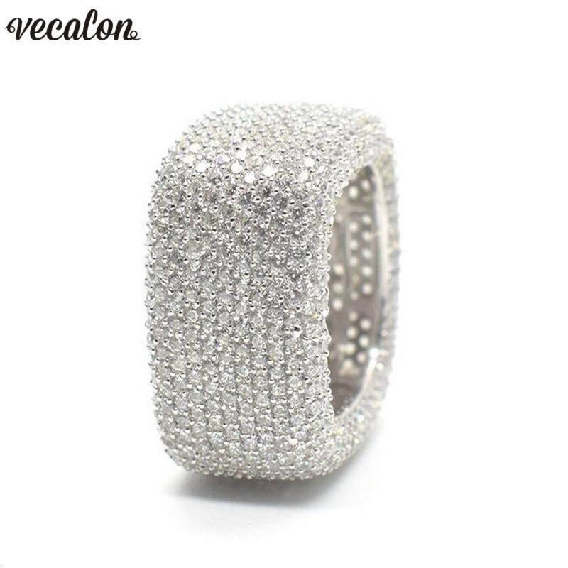 Atacado Luxo Promise Anel de prata esterlina 925 Micro Pave 450 pcs Zircon Cz Anéis de Noivado de casamento banda para as mulheres Homens Jóias