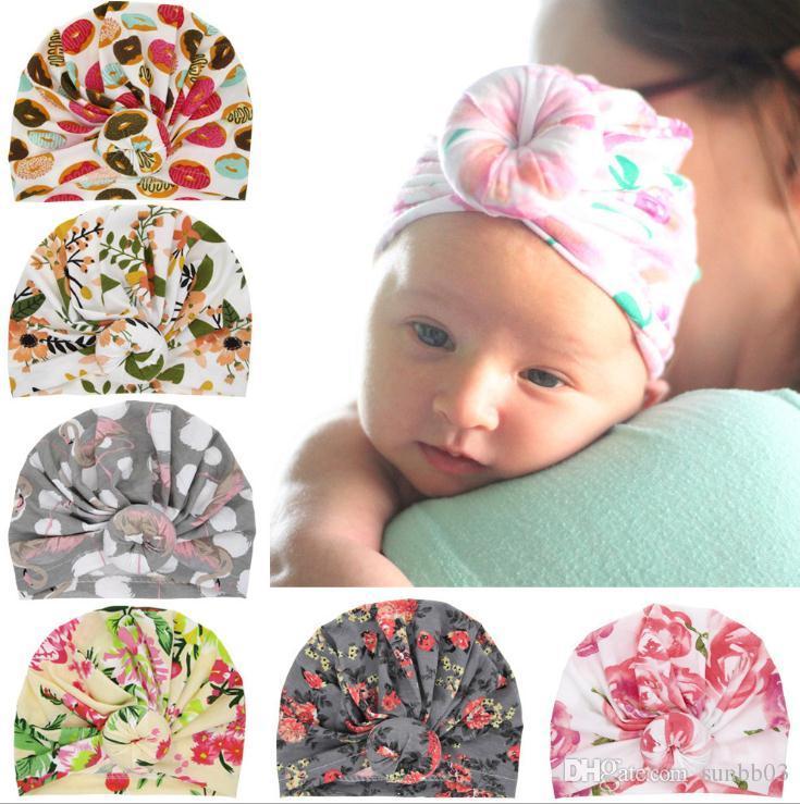 Europe Infant Baby Girls Hat Knot Flower Headwear Child Toddler Kids Beanies Turban Donuts Florals Hats Children Accessories 14596