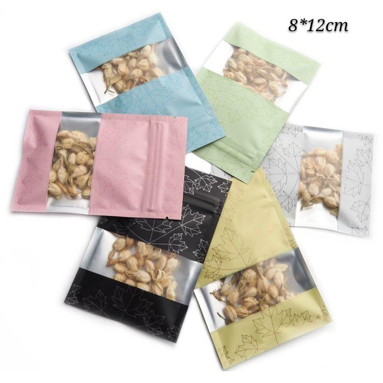 100pcs fond plat mat Verni Paquet cadeau Zip Sacs réutilisables verrouillage Accessoires pour téléphones Mylar Sacs d'emballage avec Tear Notch Smellproof