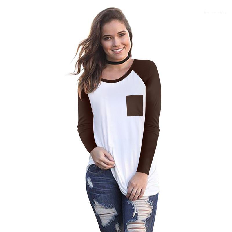 Cor camisetas Designer Patchwork longas da luva Casual Fashion Streetwear Mulheres Tops Roupa Mulheres Verão Contraste