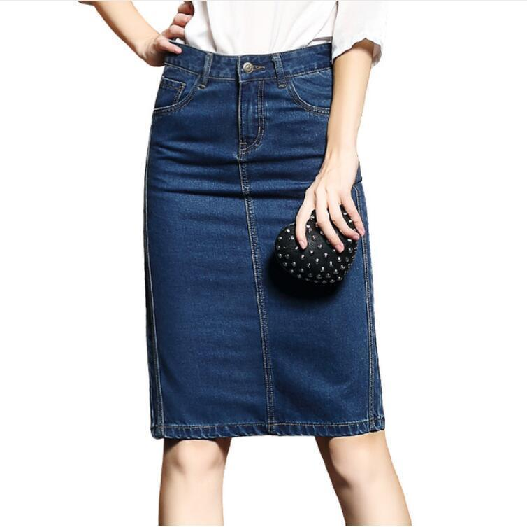 Donne Estate Saias Plus Size Casual Jeans Gonna Ladies Denim Pencil Gonne S-4xl C19041602