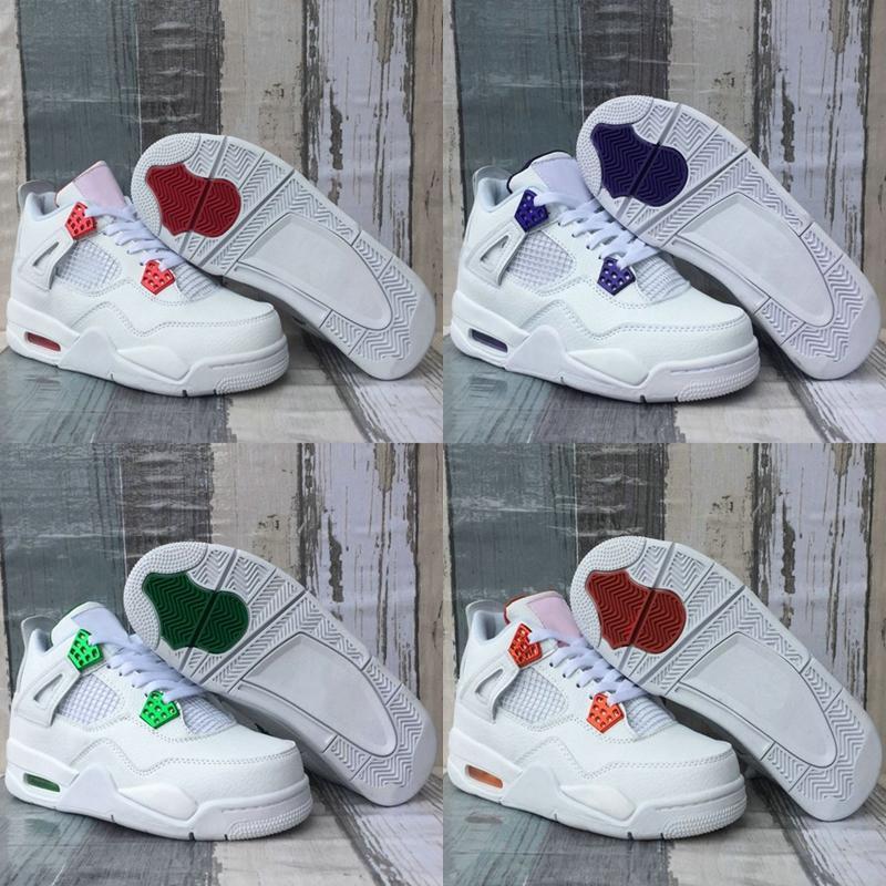 Mens Basketball Shoes Metallic Pack 4 4s Team Orange Court Purple Pine Green University Red Jumpman Pure Money White Sport Sneakers Size 13