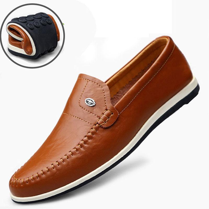 Осень скольжению на бездельников Повседневная обувь для мужчин из натуральной кожи Квартиры Бизнес вождения обувь Официальный Soft мокасин Homme