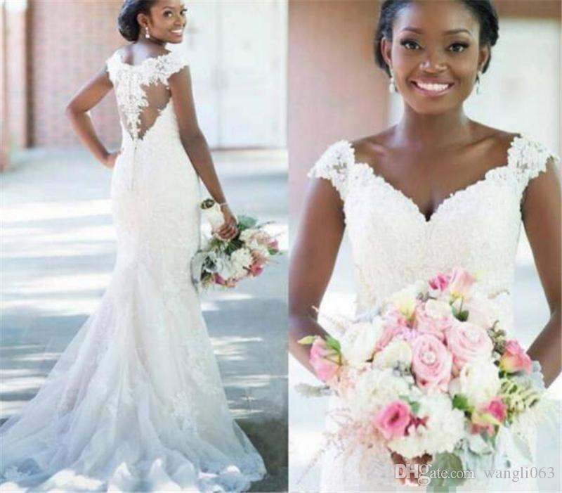 Vintage Lace Mermaid Wedding Dresses 2019 Illusion Back