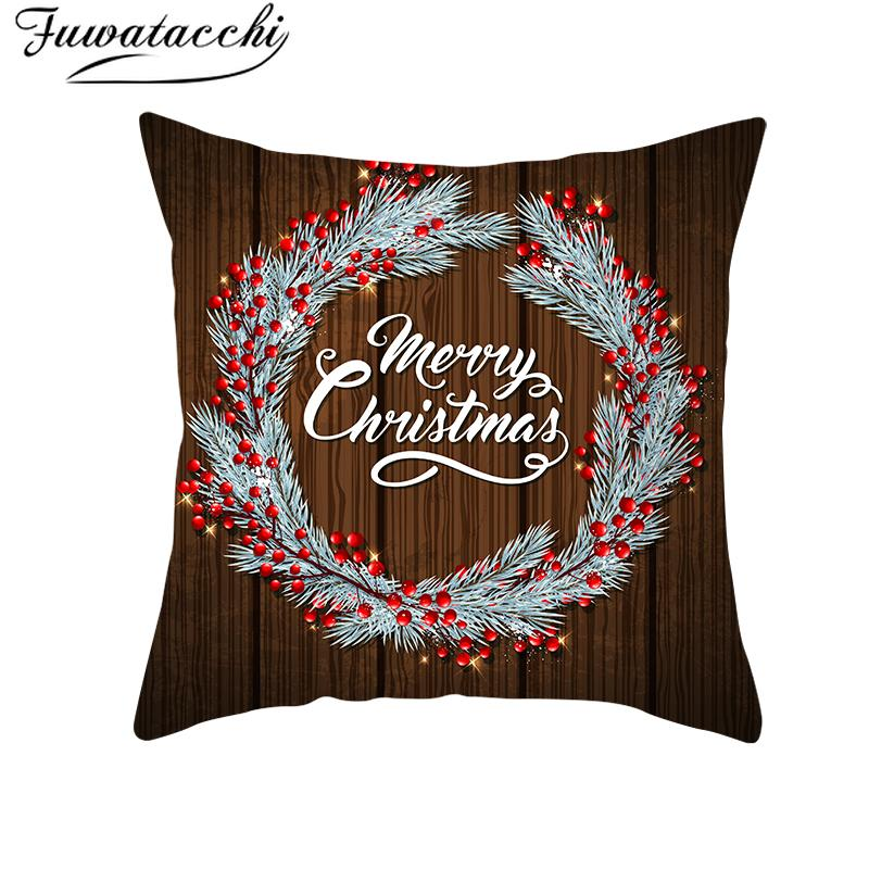 Fuwatacchi Christmas Pillow Cover Tree Throw Pillows for Couch Pillowcase Polyester Home Sofa Chair Decorative Pillow Santa