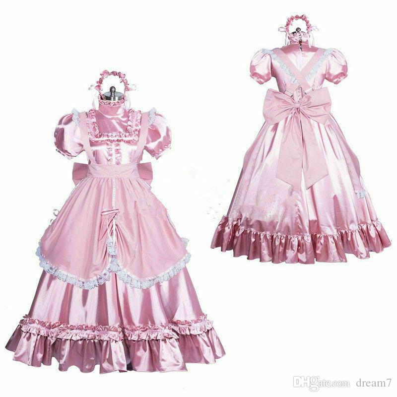 satin long sissy dress gothic lolita Tailor-made //Free shipping