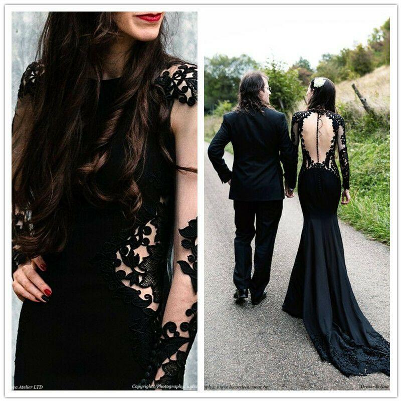 Custom made princesa cetim apliques oco longo ilusão manga rendas preto gótico sereia vestido de noiva 2019 vestidos de noiva transparente