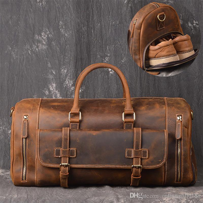 Viajes de fin de semana Viaje Vintage Duffel Duffel Men Bag Bolsa de cuero Bolso de hombro Llevar Perspieda con equipaje genuino Vaca grande en DGHNI