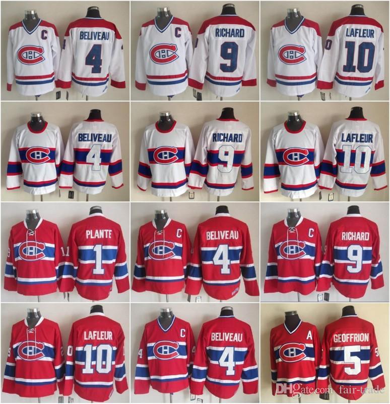 Hockey 10 Guy Lafleur Trikot Herren Montreal Canadiens 9 Maurice Richard 1 Jacques Plante 4 Jean Beliveau 5 Bernie Geoffrion Vintage Classic
