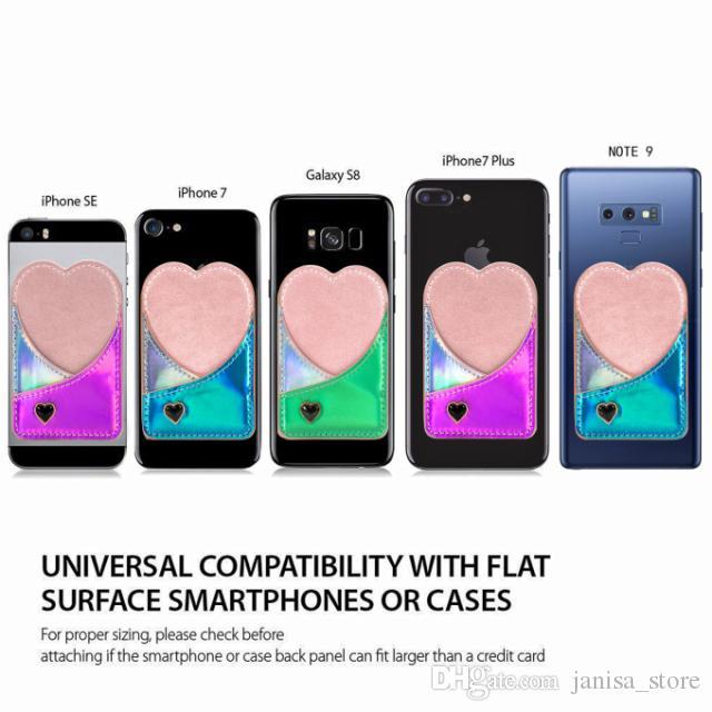 الجملة الليزر لون الحلوى لطيف القلب العالمي بو الجلود الهاتف الخلفي عصا بطاقة الائتمان محفظة جيب