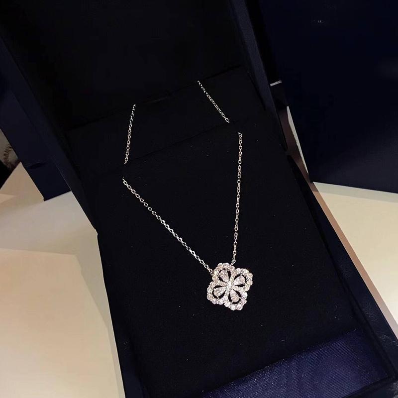 العلامة التجارية الصرفة 925 فضة مجوهرات للنساء قلادة زهرة اللوتس فضة neckalce زهرة قلادة الحظ البرسيم ساكورا حفل زفاف