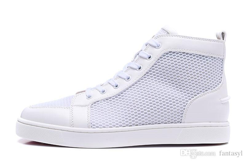High-end custom designer red bottom casual sneaker designer full nail shoes cheap roller shoes flat bottom loafers for sale white