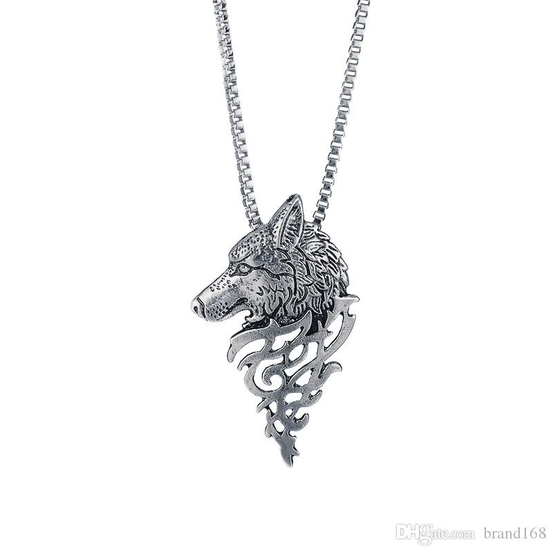 (silvery ) Wholesale Price Sell An overbearing Wolf head necklace Fashionable temperament joker clavicle chain Free Shipping.