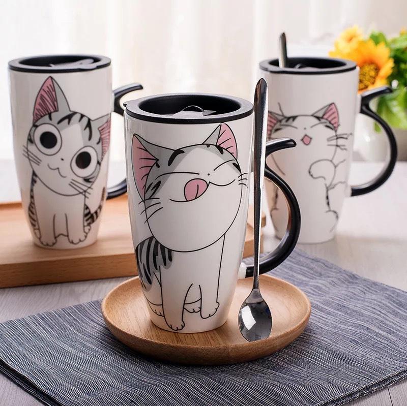600ml Creative Cat Tasse en céramique avec couvercle et cuillère Cartoon lait café tasse de thé tasses en porcelaine de Nice Cadeaux Préférence
