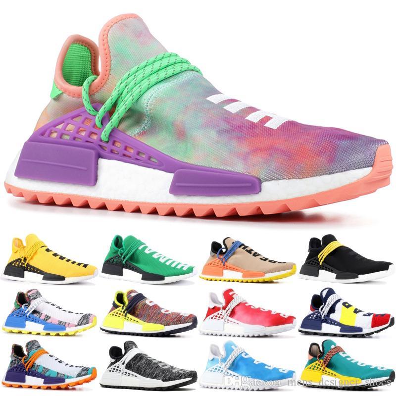 Adidas NMD Boost PW Human Race Hu Trail X Hombres Zapatillas De Running Pharrell Williams Nerd Negro Blanco Crema Tie Dye Sun Glow Zapatillas De