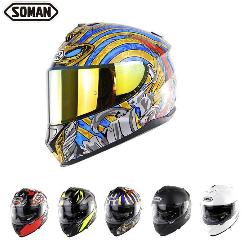 SOMAN ECE Fullface Helm Motorrad Python Printed Cool Individuell gestaltet Helm Doppel-Objektiv Gold-Visor Capacete Bluetooth Casque Moto