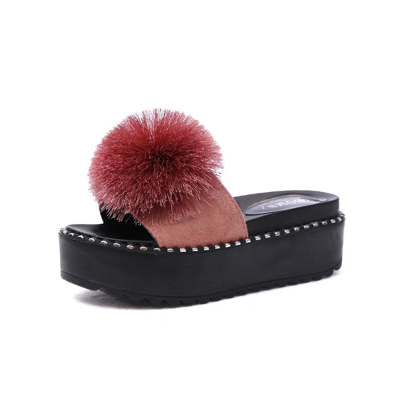 Kjstyrka 2020 Yaz Platform Ayakkabı Topuklar Topu Peep Toe Moda Slaytlar Sahil Açık Bayan Ayakkabıları Zapatos De Mujer
