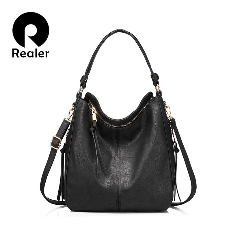 Realer mulheres bolsas femininas Bandoleira sacos de ombro de alta qualidade PU bolsas de couro mensageiro para senhoras grandes Totes grande T200102 capacidade