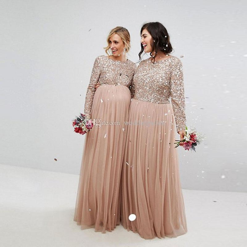 Cheap Champagne Sequined Bridesmaid