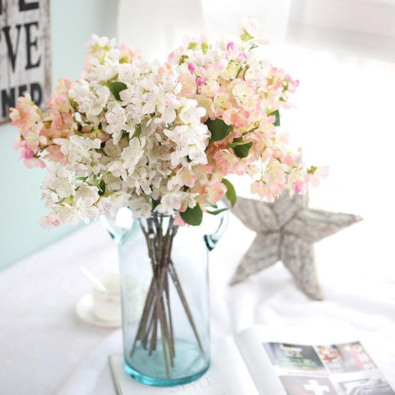 Yapay yapay çiçek yaprak kiraz çiçeği çiçek düğün buketi parti dekorasyon yapay çiçek ev açık çelenk dekorasyon