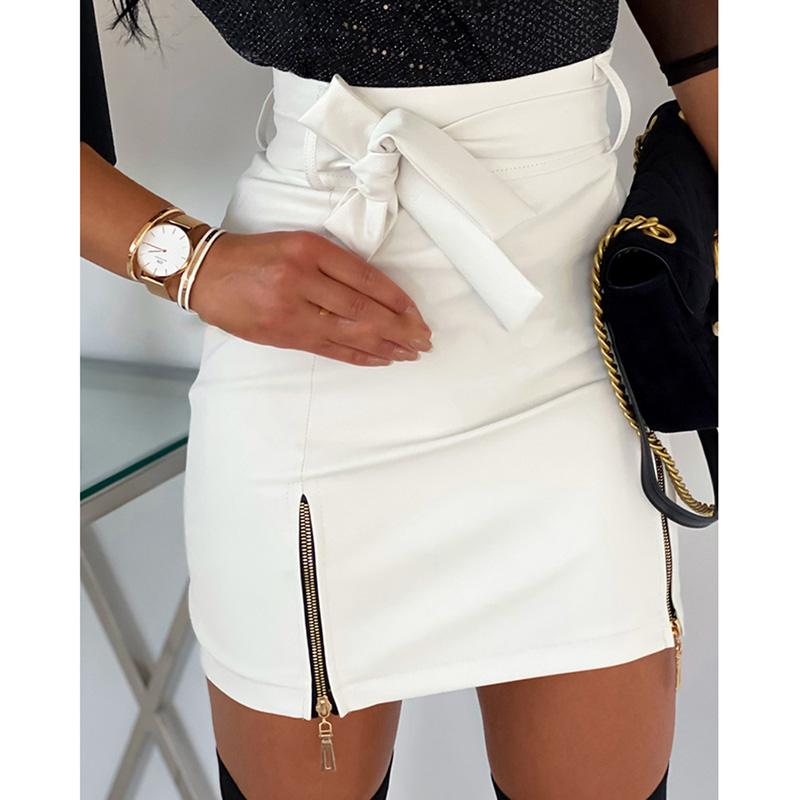 Mulheres Moda cintura alta Bandage bowknot Zipper Skirt Casual sexu Magro Pu Leather Package Hip Saia