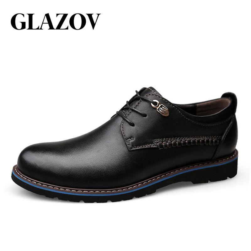 GLAZOV Männer Freizeitschuhe Marke Leder Männer Schuhe Wohnungen Männer Turnschuhe Aus Echtem Leder Business Frühling Herbst Plus Große Größe 47 48