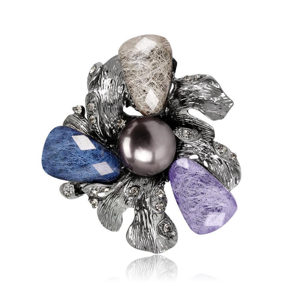 New fashion retro hot sale acrylic Pearl Flower Brooch lady's Brooch