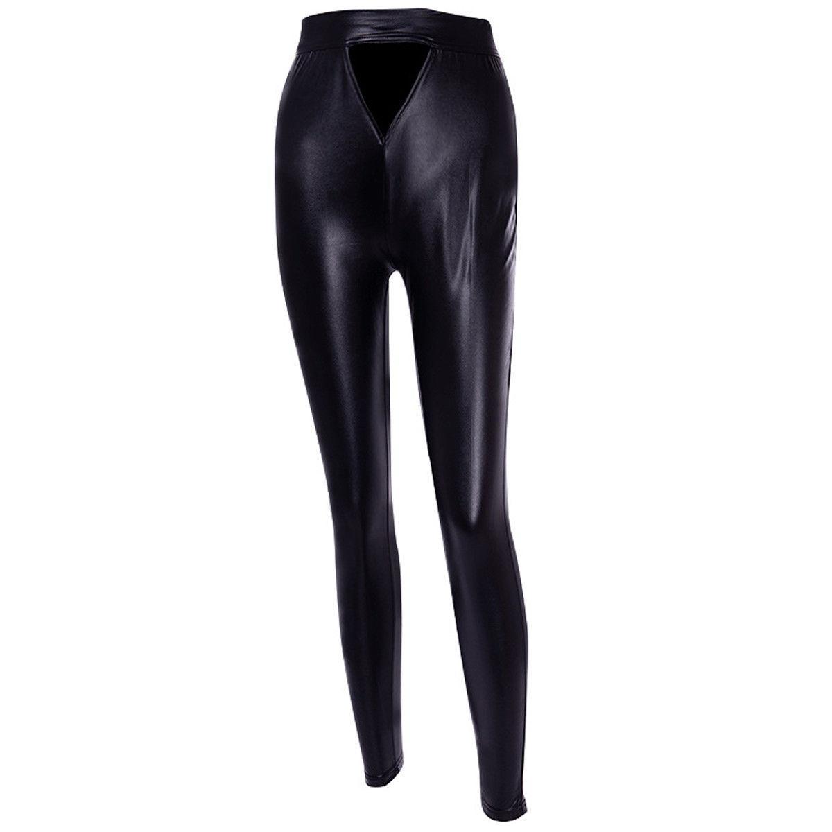 Moda nero cool sexy femmina sottile solido caldo Ferro di Cavallo donne di cuoio lucido elasticizzato a vita alta Skinny PU sottili delle ghette pantaloni stretti