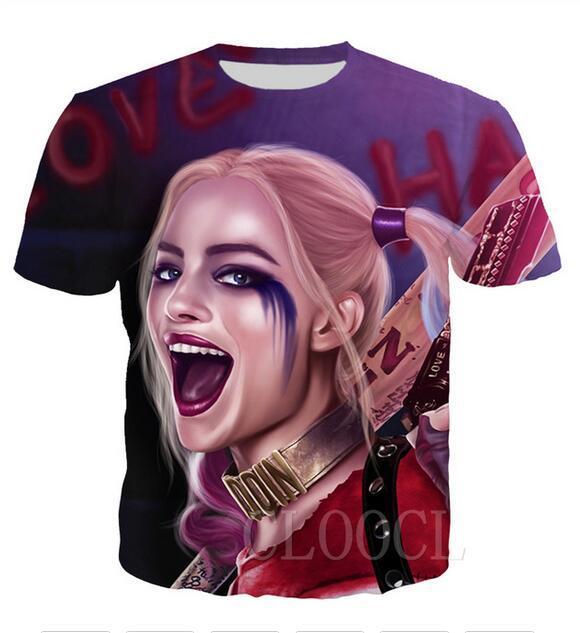 Neueste Art und Weise der Männer / Womans Harley Quinn-Sommer-Art-T-Shirts 3D-lässig T-Shirt Tops Plus Size BB047 Drucke