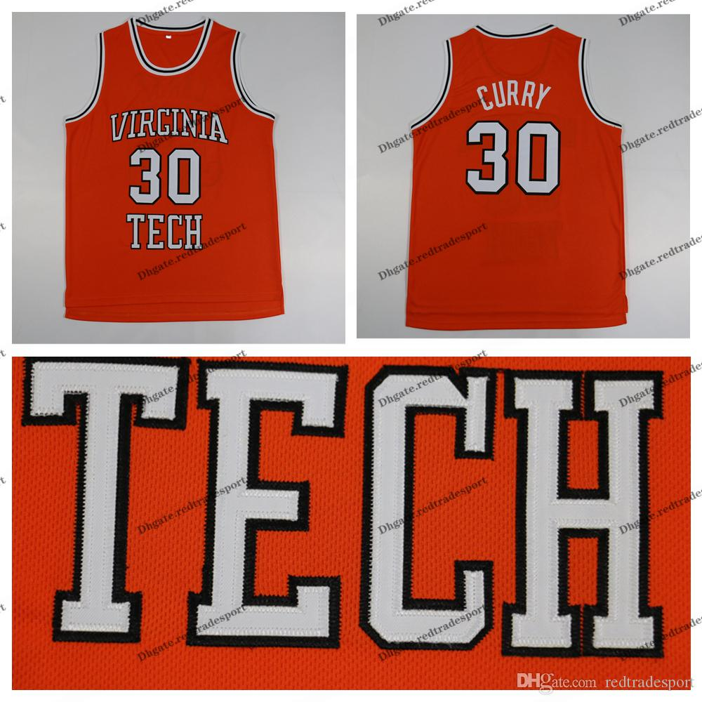 Herren Vintage Dell Curry 30 Virginia Tech Hokies College Basketball Trikots Orange NCAA genähte Hemden S-XXL