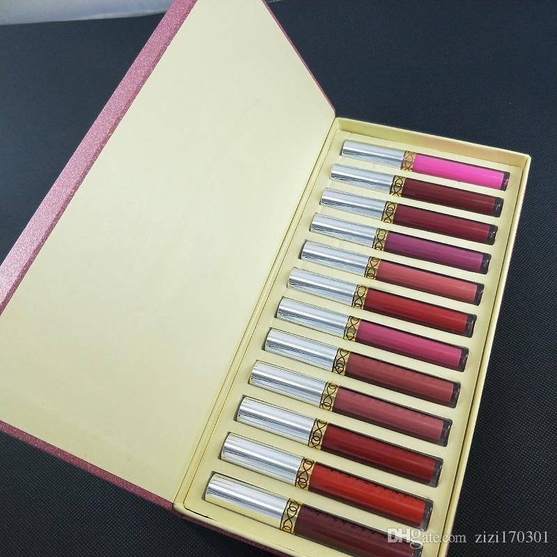 A estrenar 12pcs / set LÍQUIDO LABIAL 12 pieza de colección conjuntos de brillo labial maquillaje de labios de larga duración