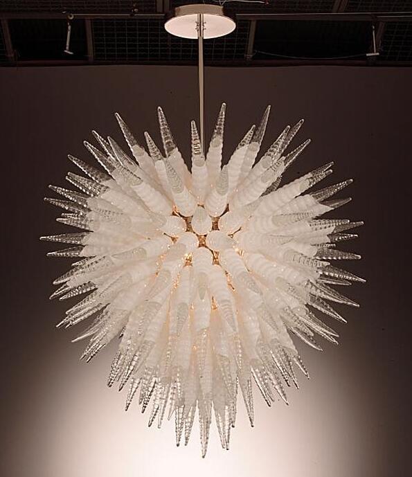 Sarkıt lambaları özel kristal avizeler aydınlatma spiral şekli 38 inç yükseklik LED ampuller el üflemeli cam avize kolye-ışıklar beyaz ve şeffaf